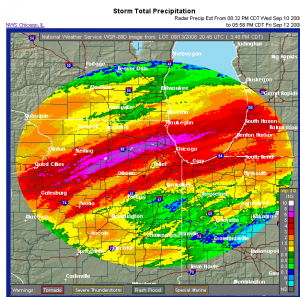 Radar Estimated Rainfall through 4PM CDT 9/13/08
