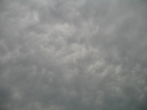 Mammatus clouds ahead of an approaching line of storms