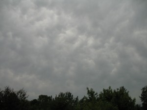 Mammatus clouds -- not very well defined -- ahead of approaching storms